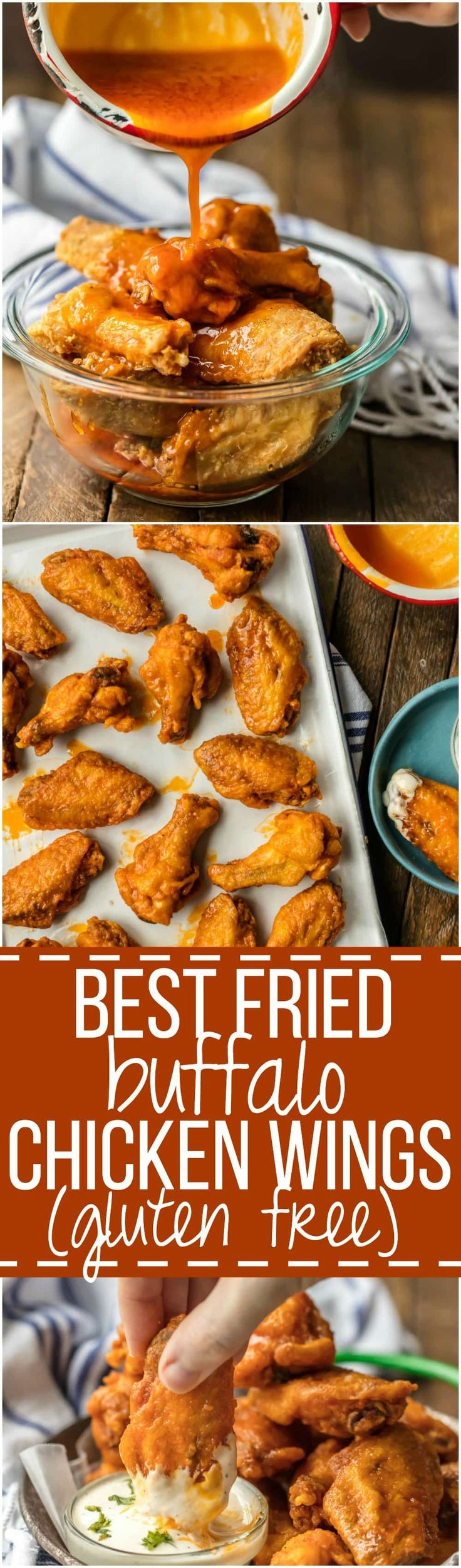 The BEST FRIED BUFFALO WINGS that just so happen to be GLUTEN FREE! Spicy deep fried buffalo chicken wings perfect for tailgating, the Super Bowl, and every day in between!