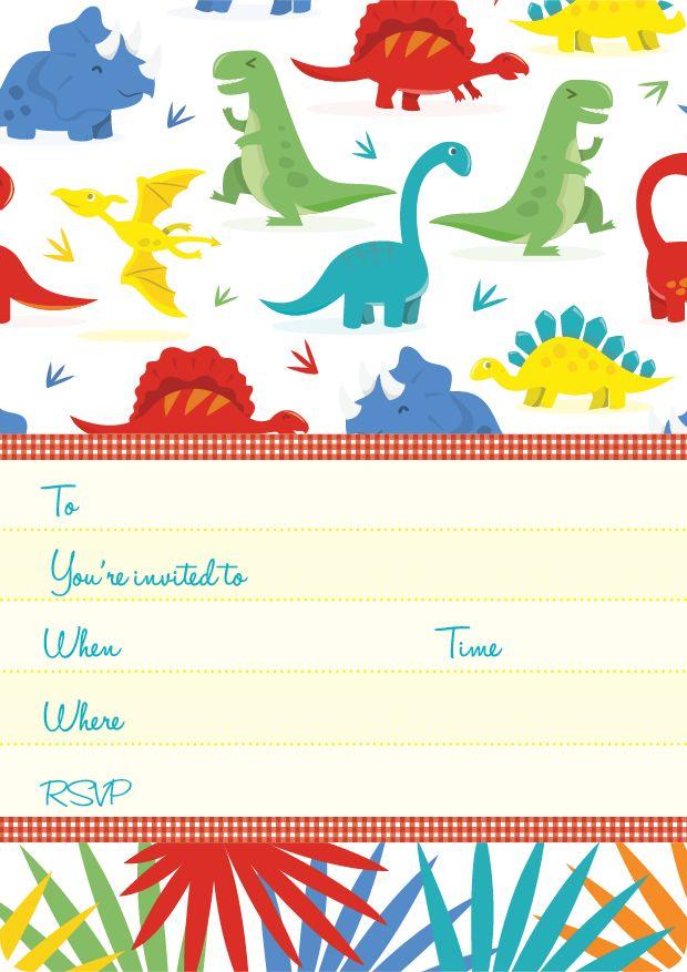 Dinosaur Kids Party | Dinosaurs Invite Set- 15 invites + coordinating envelopes + magnets $17.50 Shop for it http://www.partymama.com.au/boys-invitations-dinosaurs-invite-set-p-15.html