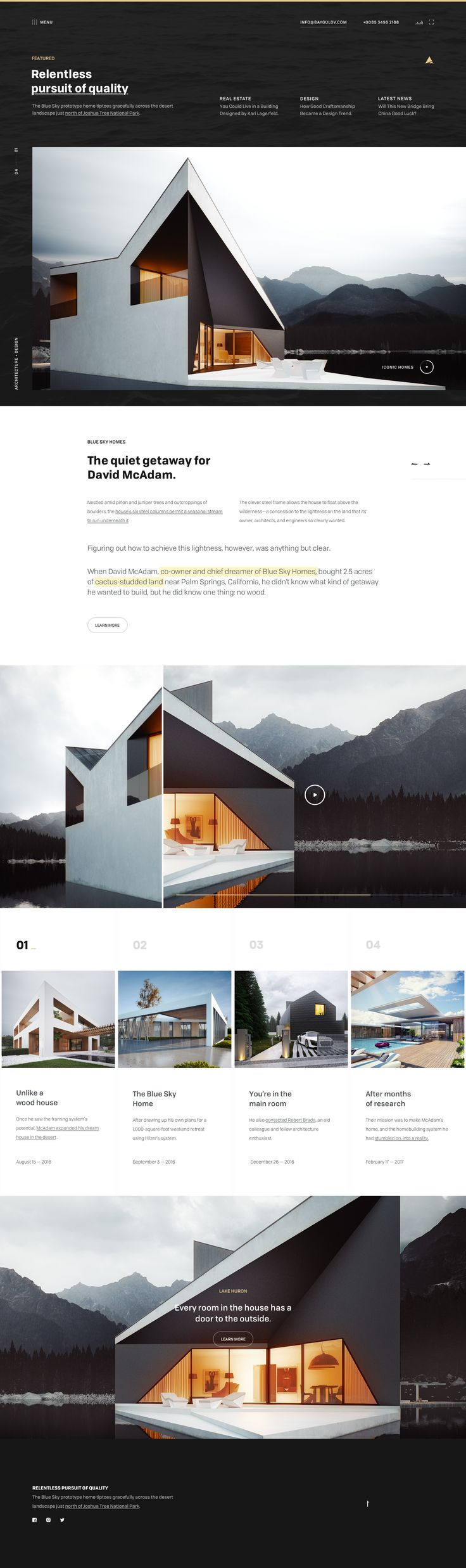 Beautiful website design for architecture. Great use of photography and grid.
