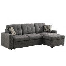 Broyhill Sofa Coaster Chenille Sleeper Sofa with Storage in Charcoal and Black Sears