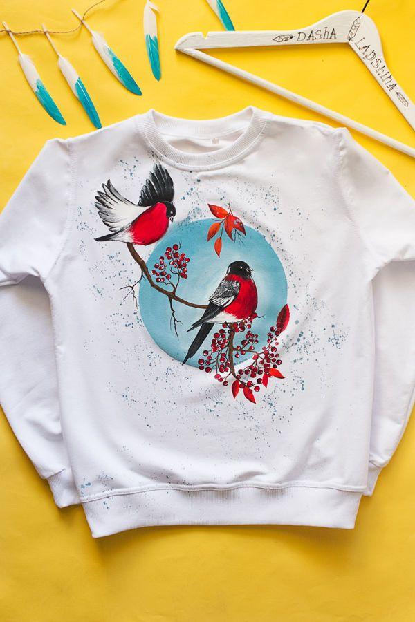 """Купить Толстовка с росписью """"Снегири зимой"""" - роспись одежды, роспись по ткани, красивый рисунок"""