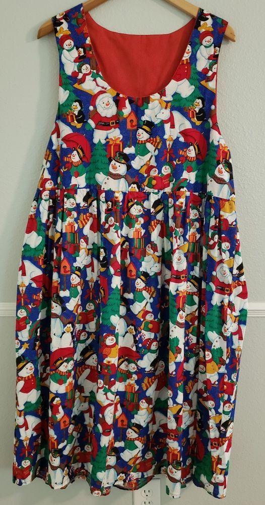406a5ab302128 Christmas Dress Womens Snowmen Handmade Sleeveless Lined - Size 2XL (18-20)   Handmade