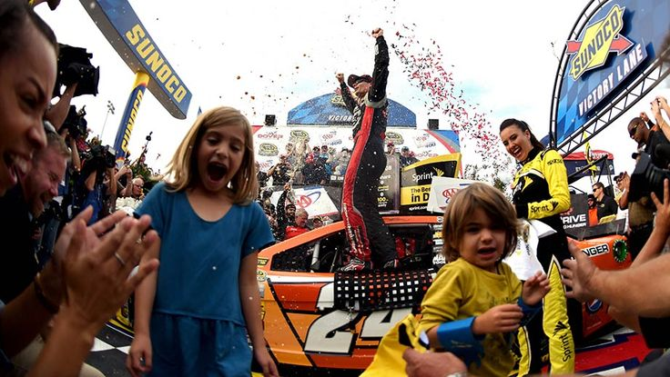 Best photos from Dover   NASCAR.com...Ella and Leo helping Papa Gordon celebrate his 4th win of the season and his 92nd career cup win - Sept 28, 2014