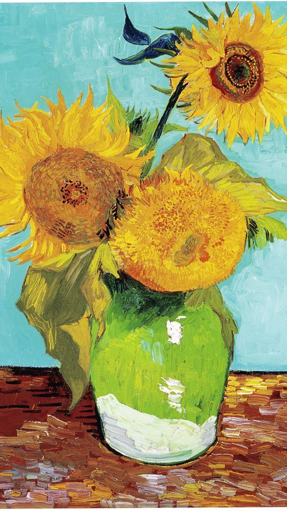 """Three Sunflowers Vincent van Gogh Oil on canvas, 1888 Private Collection  """"Fun Fact: This piece of artwork influenced a fictional biography called 'Sunflowers: A Novel of Vincent Van Gogh' that explores his mental illness through the lens of a woman who falls in love with him."""""""