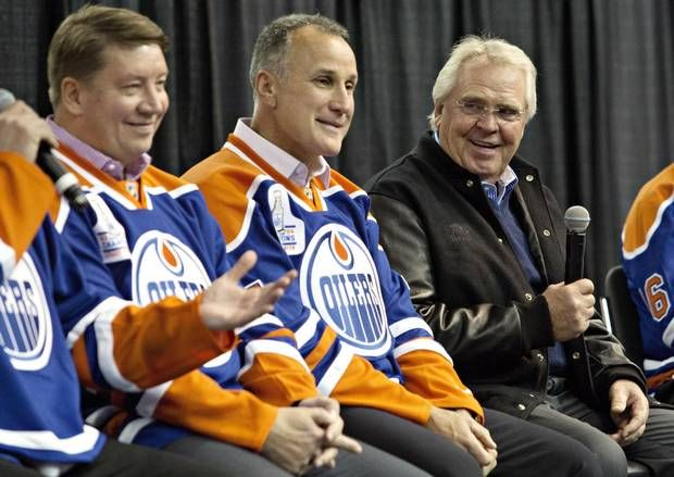 Sather joined members of the 1984 Stanley Cup champion Oilers to reminisce of past glories at a reunion in October, 2014. From left: Jari Kurri, Paul Coffey and Glen Sather.