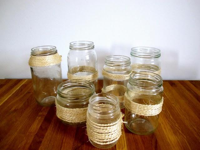 mason jars and grass ropes