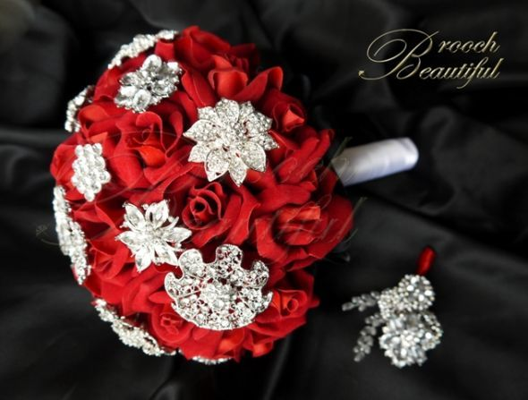 Forever Rose Brooch Bouquet :  wedding alternative bouquet bling bouquet boutonniere broach buttonhole flowers peony red rhinestone rose white Red Bling Velvet Brooch Bouquet 1