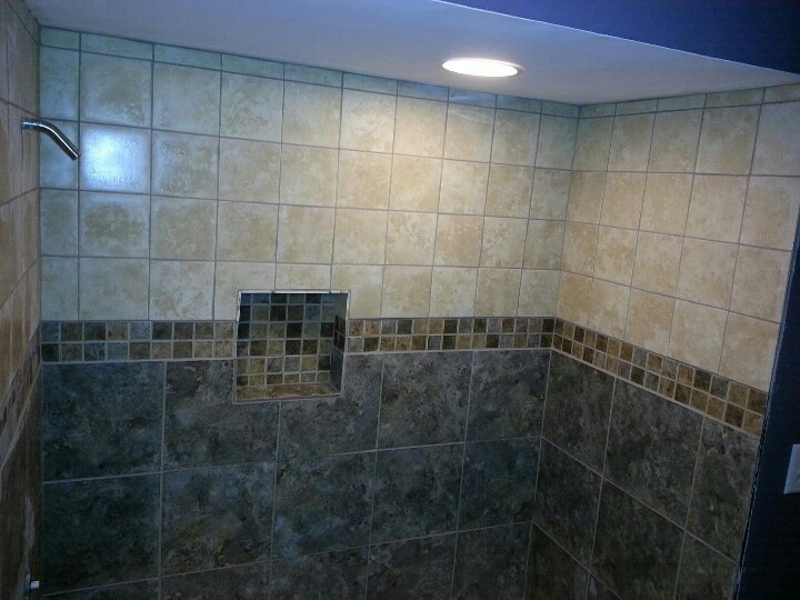Two Tone Tiled Shower Home Pinterest Tile Showers Master Shower And Tile Ideas