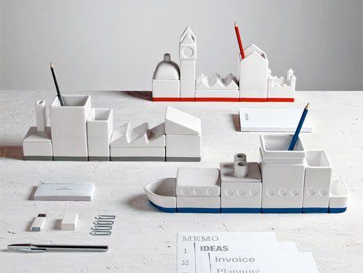 The city porcelain desk organizer set | 1 Design Per Day  I would love such a set for my desk
