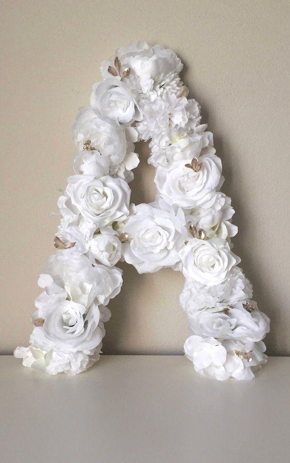 White Floral Letter White Flower Decor White Wedding Flower Etsy Flower Decorations White Wedding Flowers Floral Letters