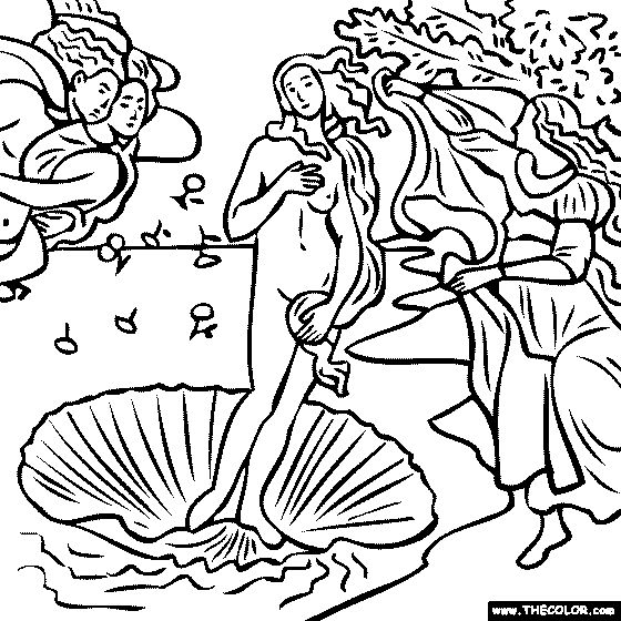 100% free coloring page of Sandro Botticelli painting - Birth of Venus. You be the master painter! Color this famous painting and many more! You can save your colored pictures, print them and send them to family and friends!