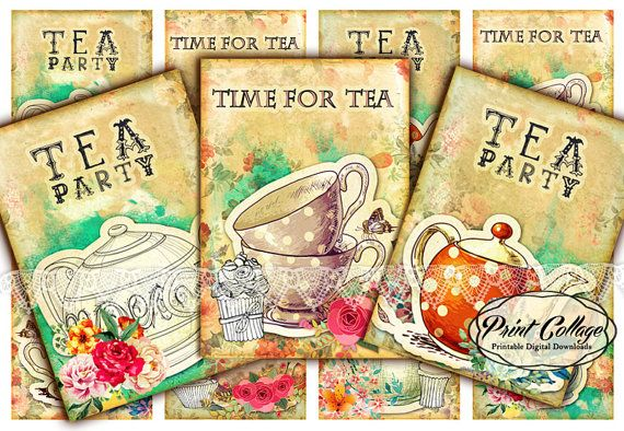Tea  Digital Collage Sheet Designed Gift Tags and by PrintCollage