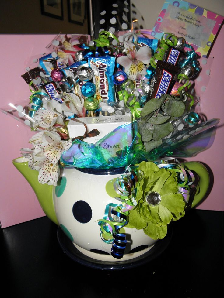 mothers day candy bouquet.... MY FAVORITE, I love tea pots