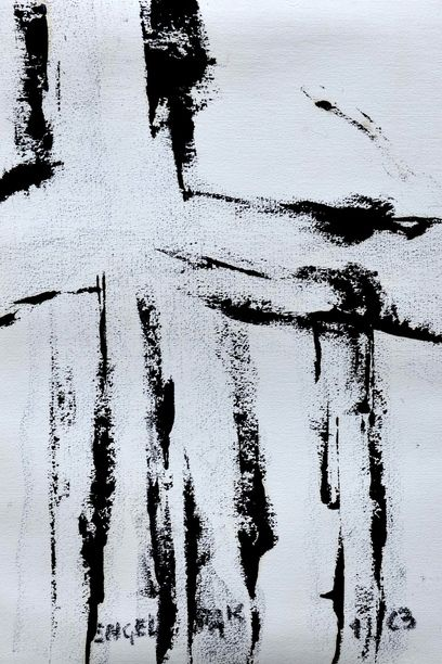 Engel-Pak, 1963, Encre d'imprimerie, 24 x 32, Courtesy Galerie Intuiti