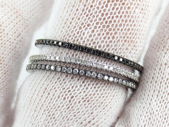 Set of 3 Bands Black Diamond Black Rhodium by ZinaTahiriDiamonds, $985.00