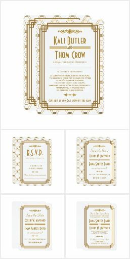 Gatsby Art Deco Wedding Suite in White & Gold