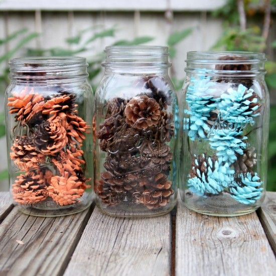Foxy Mama baby shower decor: paint-dipped pinecones  {One Charming Party}