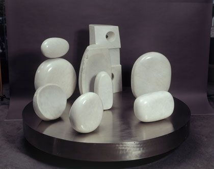 Barbara Hepworth Assembly of Sea Forms, White marble
