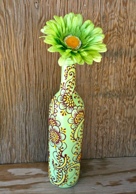 Wine bottle Vase, Henna Influenced Design, Mint Green Wine Bottle with magenta and yellow accents
