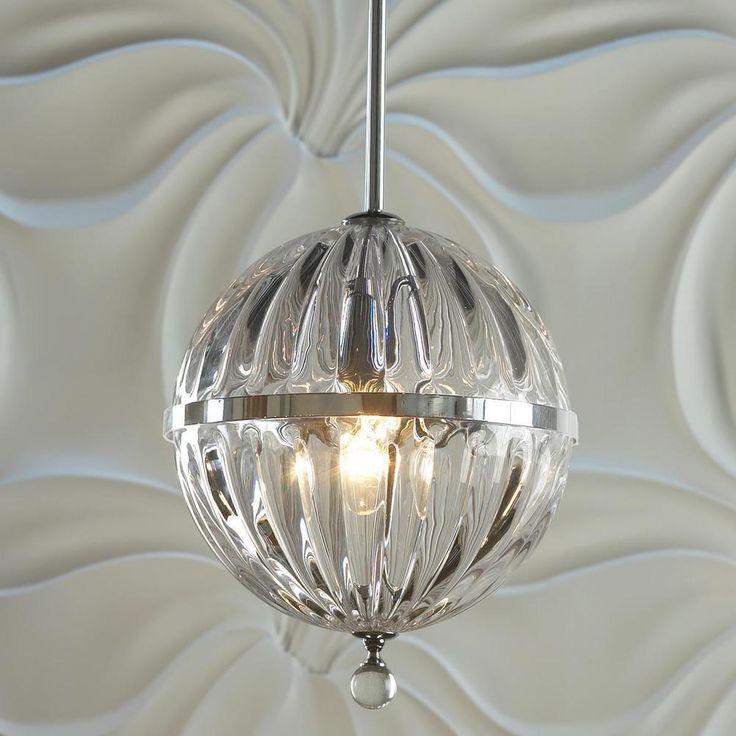 Rare New Glass Globe Pendant Prismatic Light Fixture Hotel