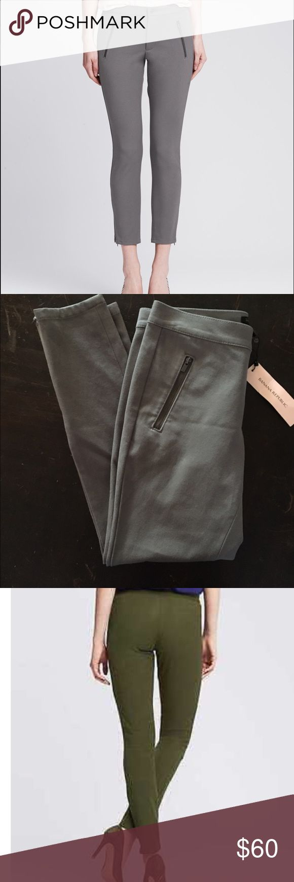 🎉SALE BANANA REPUBLIC Petite Sloan Zip Pants Expert tailoring combines with Banana BANANA REPUBLIC Petite Sloan Zip Legging Pants. Republic's signature Sloan contour stretch fabric to instantly refine and sculpt your figure 56% Rayon, 39% Cotton, 5% Spandex Sits below the waist. Fitted through the hip and thigh. Ankle length. Ankle zips. Zip front pockets. Zip fly with button closure. Measurements to come. I LOVE THESE, but they're a little too tight on me. Pants are grey, the last two pics…