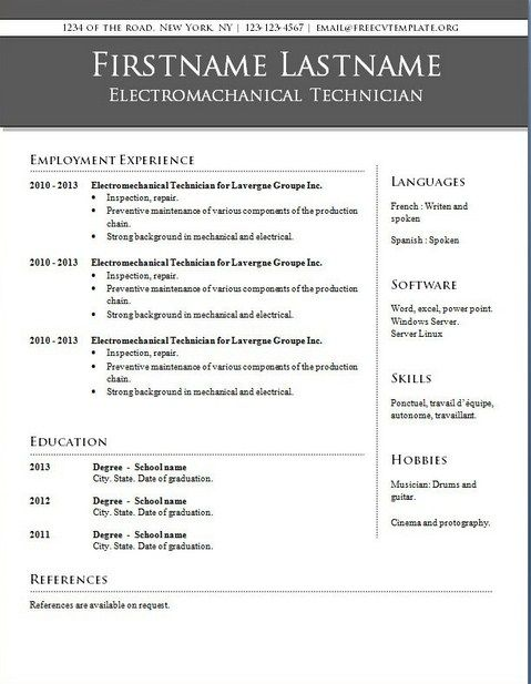 Downloadable Resume Templates For Word 2010