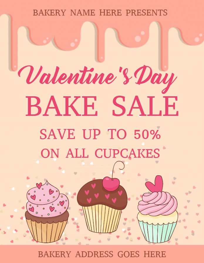 Valentine S Day Bake Sale Flyer Design Template Bake Sale Flyer