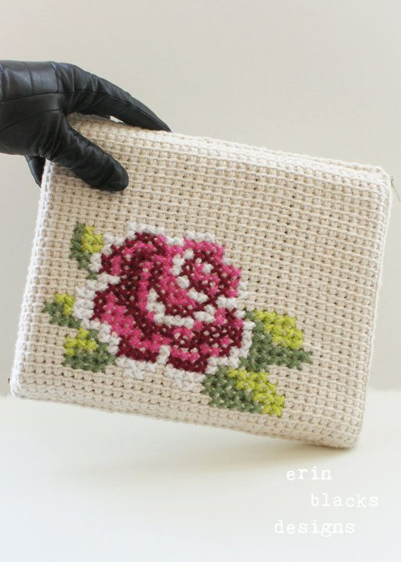 "DIY Tunisian Crochet PATTERN - Cotton Rose Bloom Tablet Case (8.5"" x 10"") (tunisian001)"