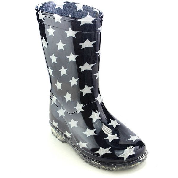 Jelly Beans Navy & White Star Rain Boot ($11) ❤ liked on Polyvore featuring shoes, boots, ankle boots, wellington boots, wellies boots, jelly shoes and bootie shoes