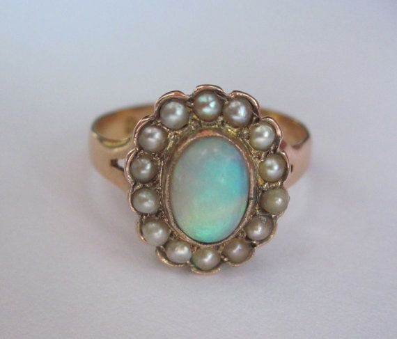 1879 opal and pearl ring