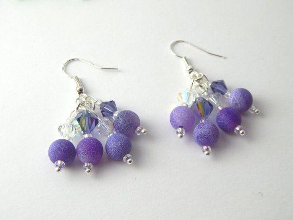 Purple White Agate Crystal Earrings  Dragons by BitsAndBojangles