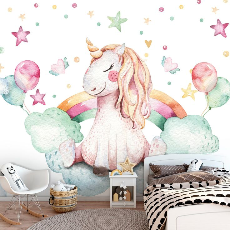 Unicorn KIDS Room Wallpaper Nursery Mural Wall Decoration CUTE Poster Kids Interior