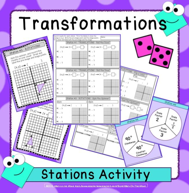 Fun stations activity in which students roll dice, flip coins and spin spinners to find the change in (x,y) for translations, rotations, reflections, and dilations.