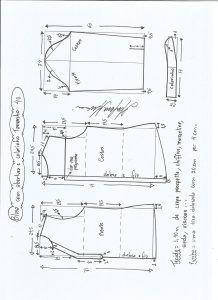 Блуза схема моделирования с открытием и средним размером воротника 40.