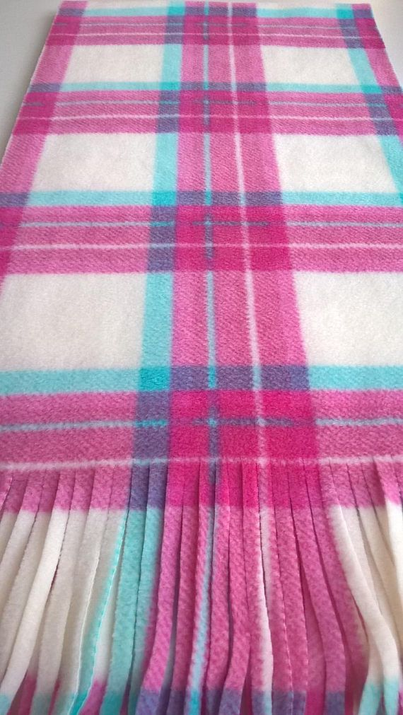 Pink Tartan Plaid Scarf Oversized Scarf Pink and White