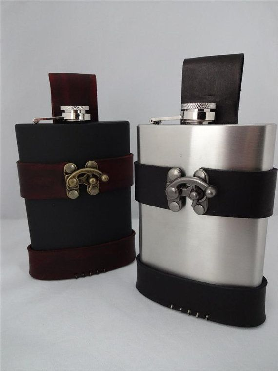 8oz Flask with Matte Black Finish and Custom Holster / Holder for Steampunk Pirate or Renaissance