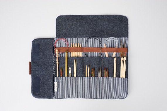 Knitting needle case, Circular needle case, Needle Organizer, Crochet case - denim, leather, cotton | OtterburnPQ Etsy shop