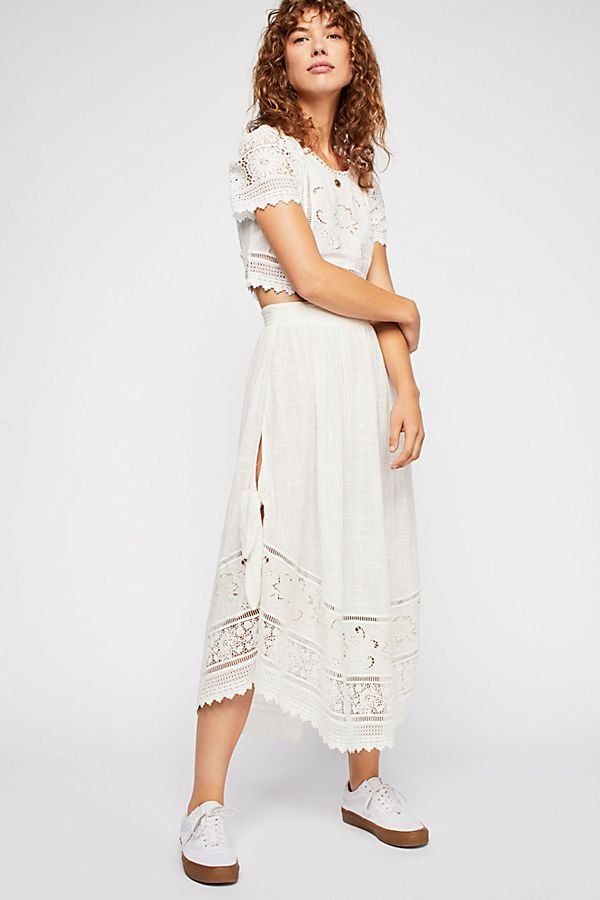 8fce0b7594 Abigail Lace Set - White Crochet Lace Short Sleeve Top and Maxi Skirt Set -  Boho Sets - Free People Sets