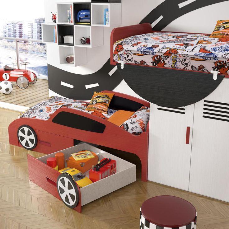 Capacidad de almacenaje en #dormitorios #infantiles temáticos de #coches