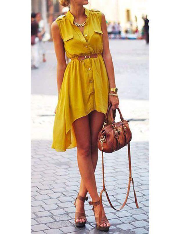 La robe chemise jaune safran@Capture écran Pinterest / itunes.apple.com
