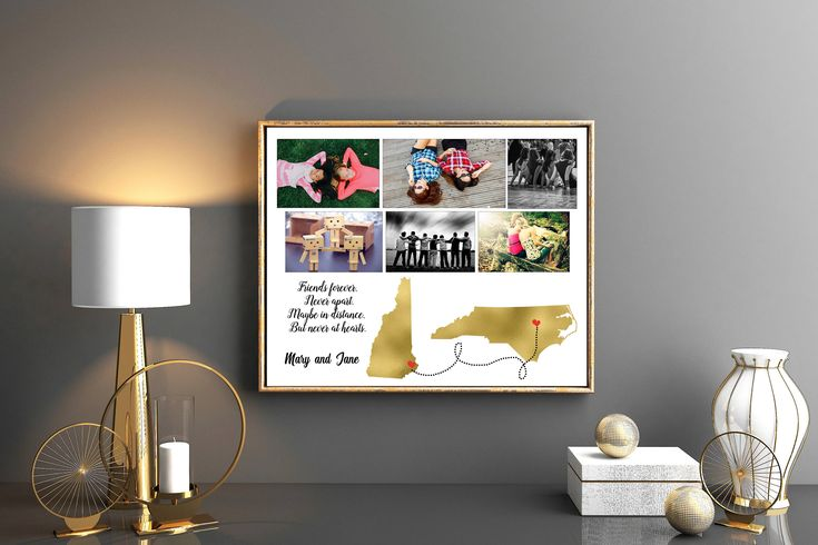 Photo collage best friend long distance high school graduation moving away gift Going away gift for her Sister or brother graduation gift by Kompostela on Etsy