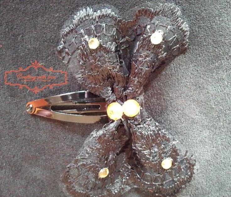 Handmade lace hair clip.