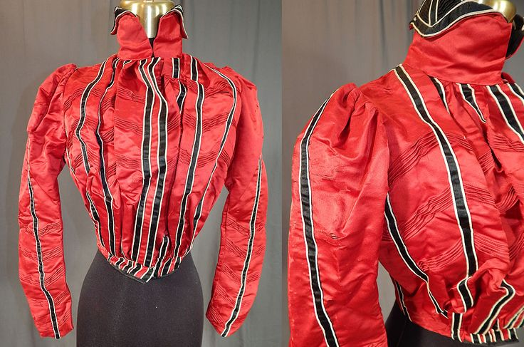 Victorian Red Silk Black & White Striped Pleated Bodice Blouse This antique…