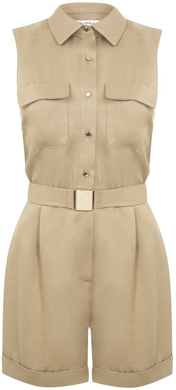 Womens beige playsuit from Miss Selfridge - £49 at ClothingByColour.com