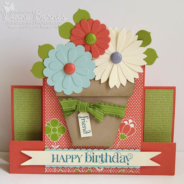 Card Making Ideas And Instructions Part - 16: Stampin Up Flower Pot U0026 Birthday Centre Step Card U0026 Instructions. By Di  Barnes With Tutorial For Card