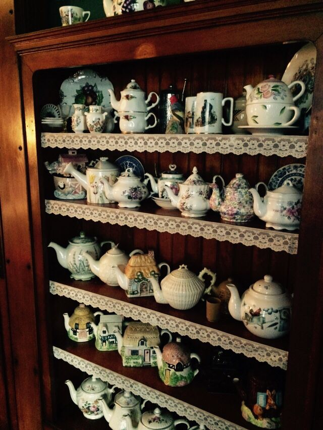 Teapot collection - Carriage House Inn B & B, Grinnell, Iowa.