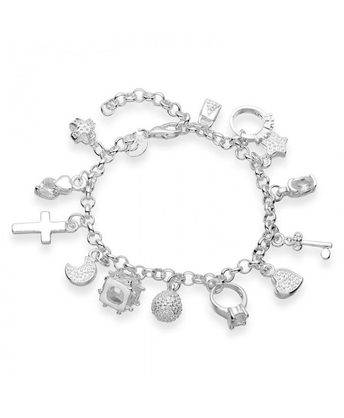 925 Silver Plated Beautiful Charm Pendant Chain Bracelet