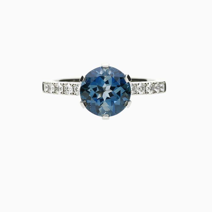 Crown Azura Ring, London Blue Topaz in Platinum