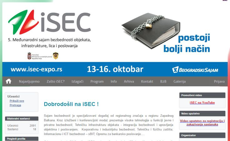 SSmart Urban Technologies International Fair and Conference, 3-6th October 2017, Belgrade, Serbia   The International Security Fair - iSEC is a regionally recognized fair event presenting high technologies supporting public and private security and from this fair edition it expands towards SMART   #Conference