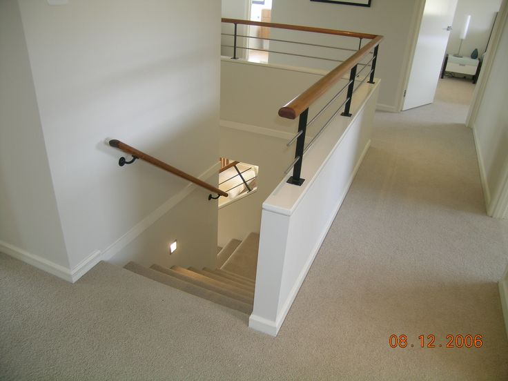 Half Wall Timber Handrail Stainless Steel Rails And Black Powder Coated Posts Stair Stair